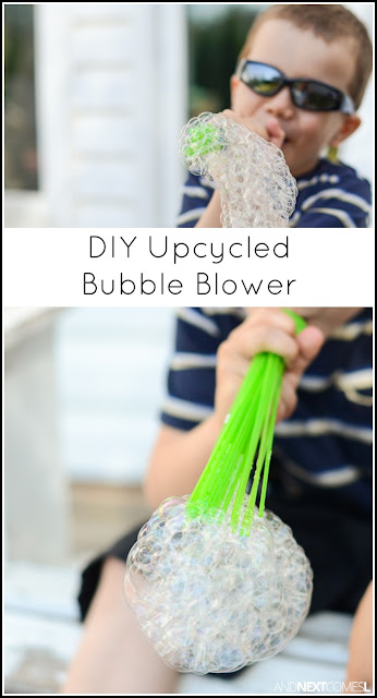 Make DIY upcycled bubble blowers for kids by reusing the Bunch O Balloons water balloons adapters from And Next Comes L