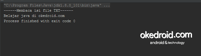 Output hasil contoh coding cara membaca memasukan file txt dalam java