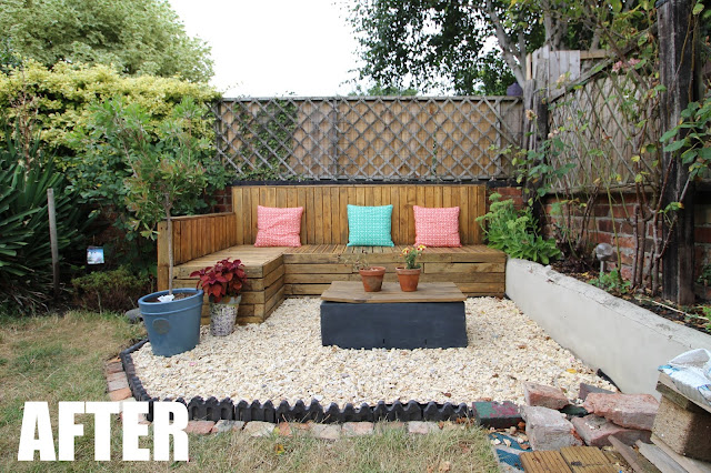 garden pallet seating before and after