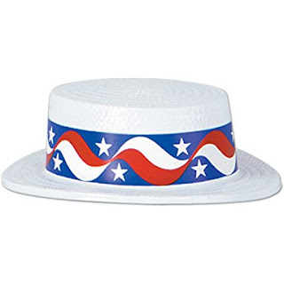 White Plastic Skimmer Star Band Party Accessory Hat