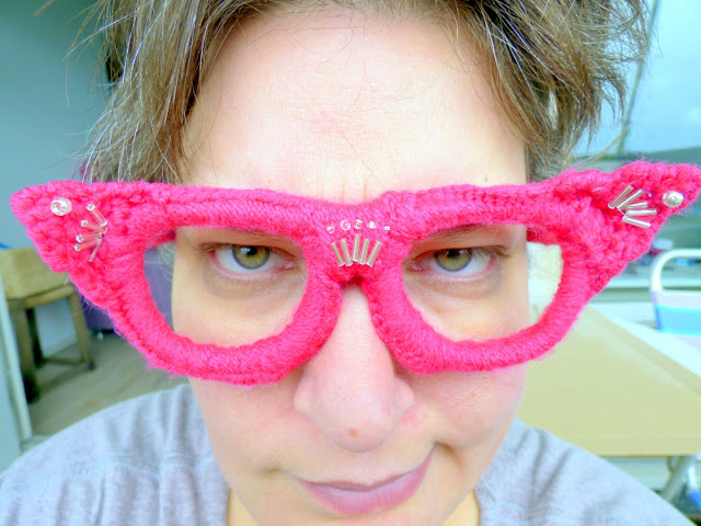 Pink crochet glasses with silver beads