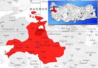 Manyas ilçesinin nerede olduğunu gösteren harita