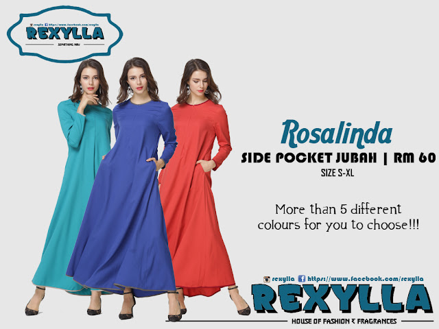 rexylla, side pocket jubah, casual jubah, rosalinda collection