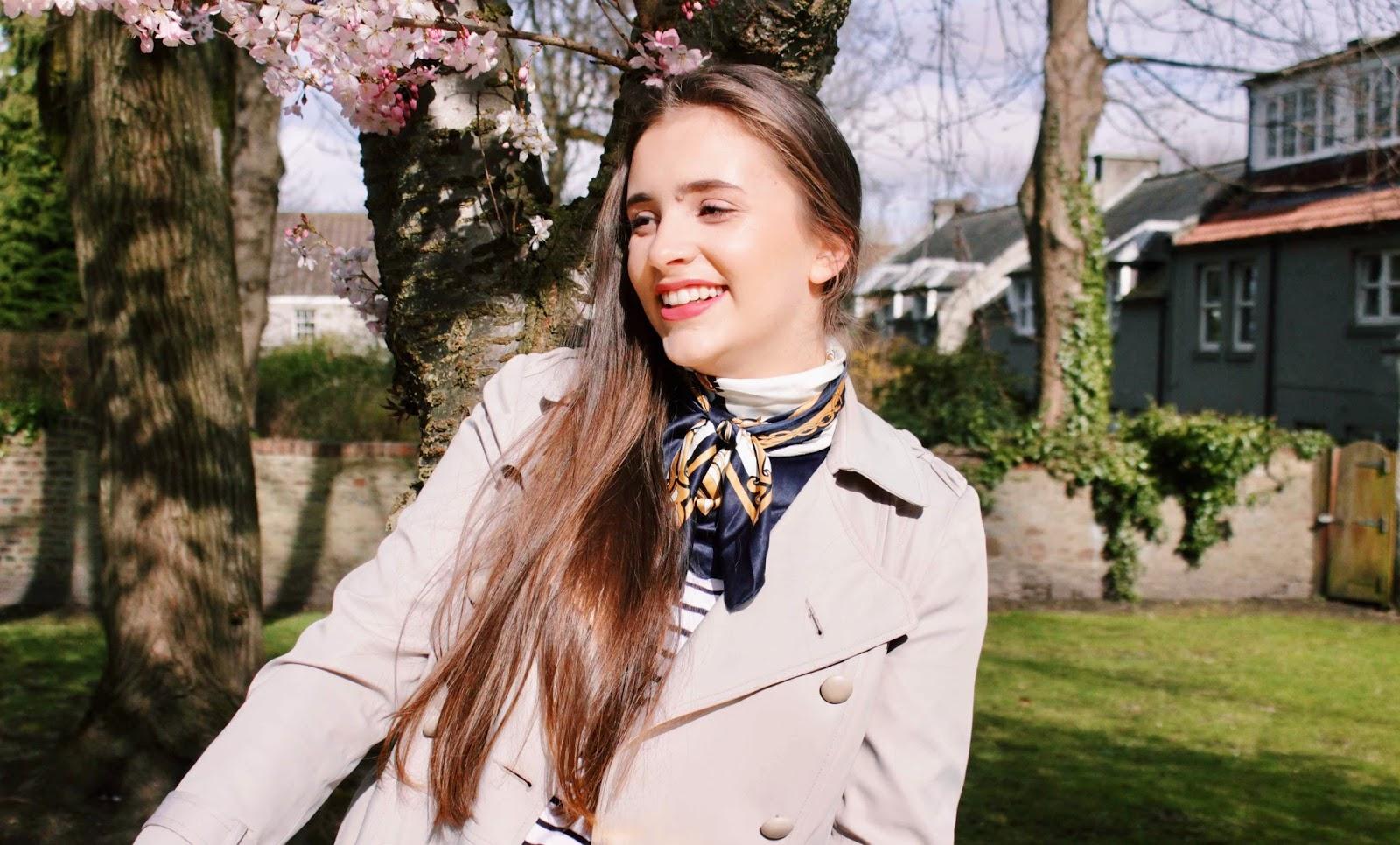 Girl laughing in spring