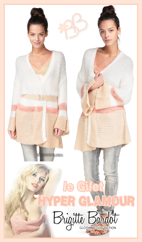 Gilet Brigitte Bardot en maille ajourée blanc et rose