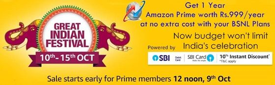 BSNL offers One year Amazon Prime Membership for Broadband and Postpaid users