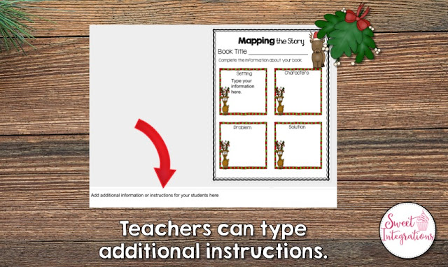 """Teachers can type additional instructions"" with a visual aide of what that looks like"