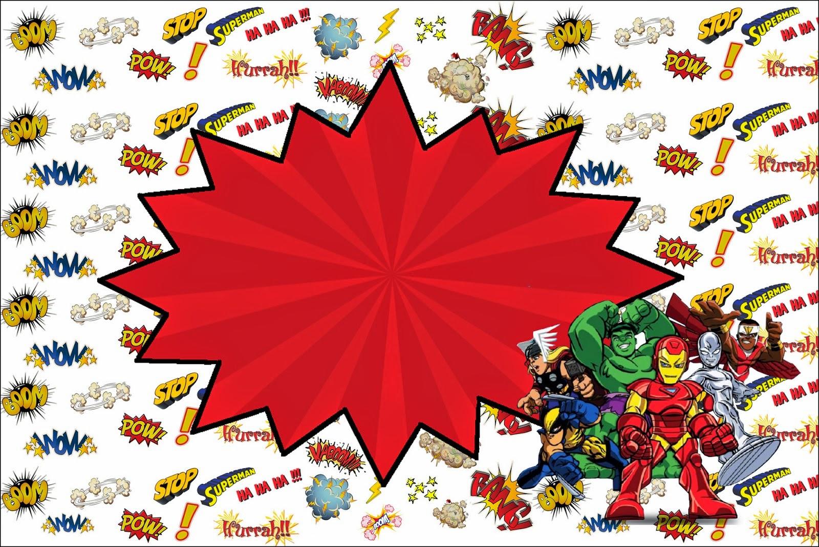 marvel superheroes squad  free printable invitations