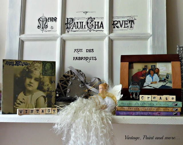 Vintage, Paint and more... vintage shelf vignette with diy wooden letter blocks