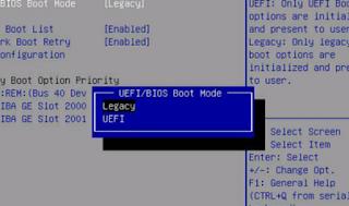 Set bios dari UEFI ke legacy atau CSM