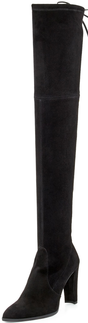Stuart Weitzman Highstreet Suede Stretch Over-the-Knee Boot, Black