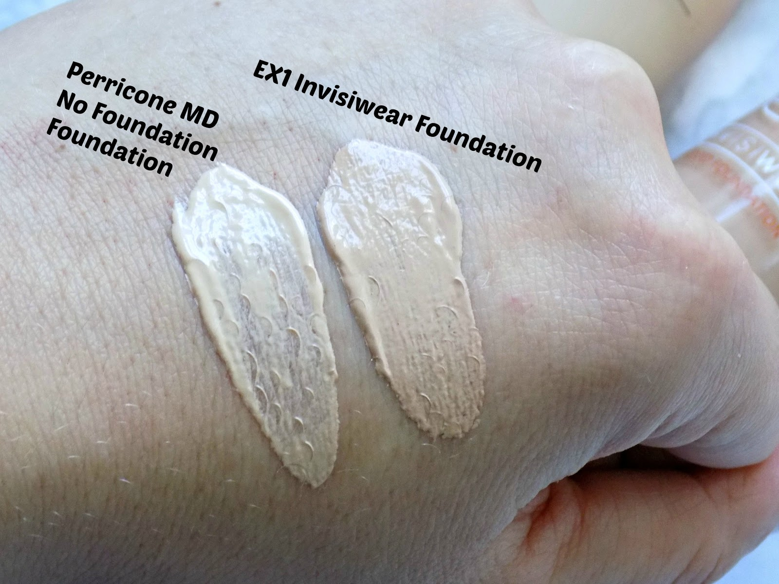 Perricone MD No Foundation Foundation and EX1 Invisiwear Foundation swatches
