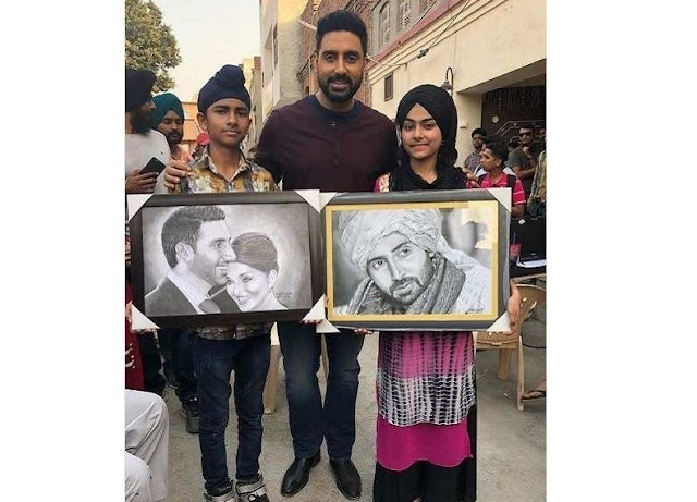 Pic: Abhishek Bachchan touched by young fans who made sketches of him