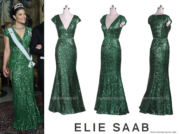 Crown Princess Victoria wore Elie Saab V Neck Sequined Cap Sleeved Beaded Gown
