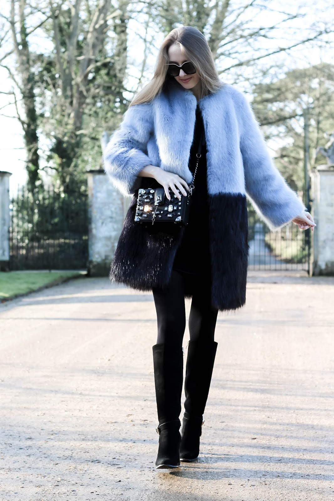 Glamorous Faux Fur Coat Winter Styling Fashion Blogger