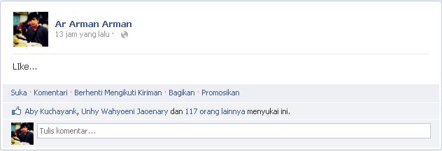 Cara Mudah Mendapatkan Banyak Like di Status Facebook 1