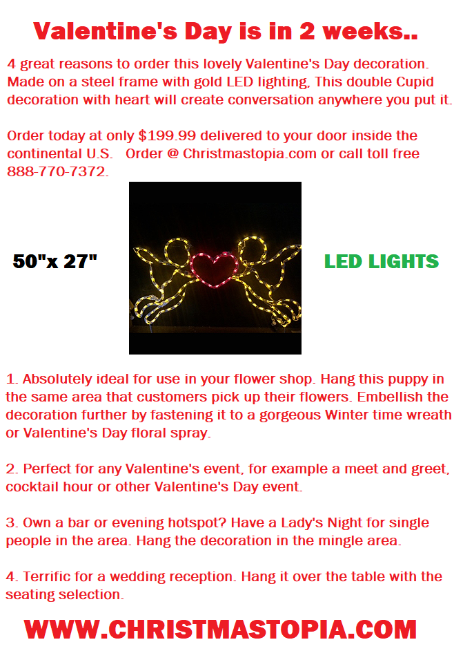 Nothing says A'more better than our lighted Valentine's Day Double Cherub Decoration only $199 w/ free shipping buy now