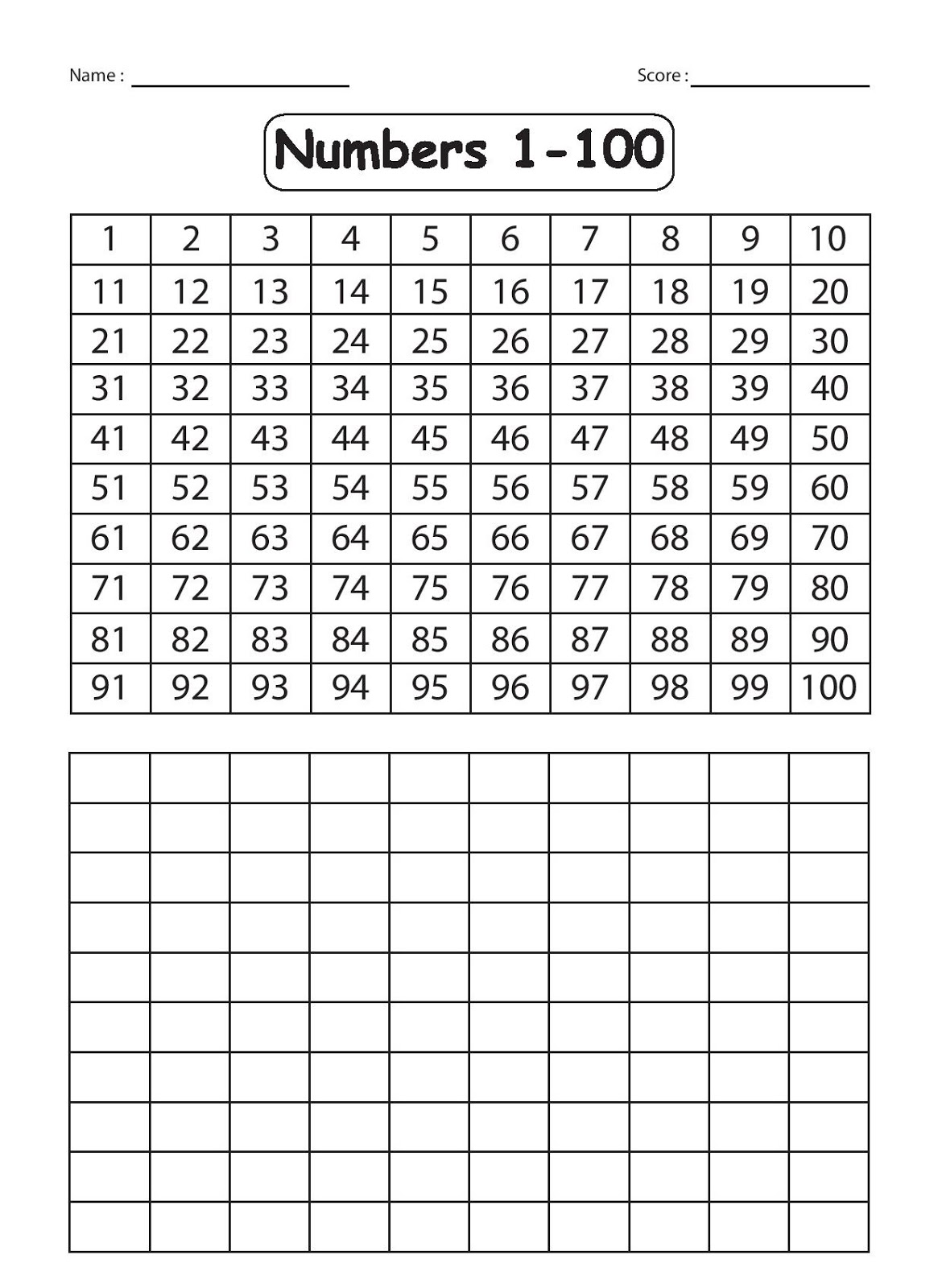 Writing Numbers 1 50 Worksheet
