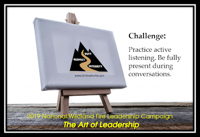 2019 National Wildland Fire Leadership Campaign - The Art of Leadership (easel with WFLDP logo on canvas)