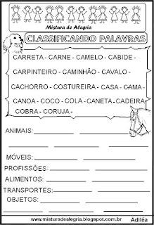 Classificar palavras com letra C