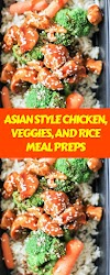 ASIAN STYLE CHICKEN, VEGGIES, AND RICE MEAL PREPS