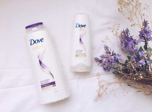 dove kırık uçlara karşı etkili şampuan ve saç kremi
