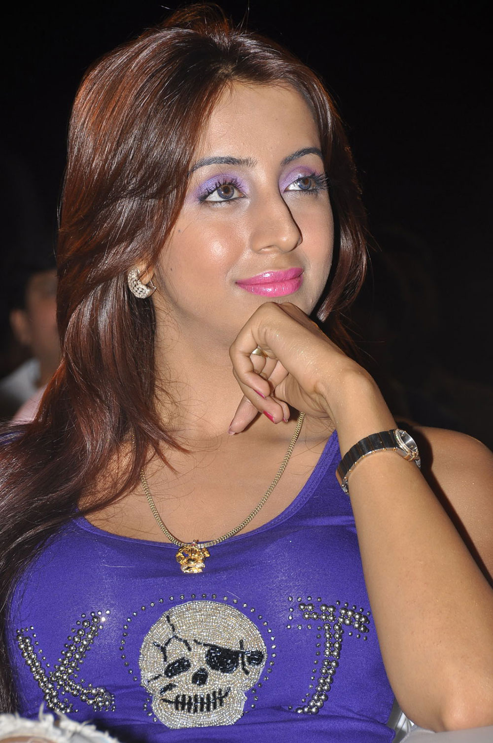 gorgeous Sanjana in purple makeup and dress latest dazzling pics gallery at park audio launch