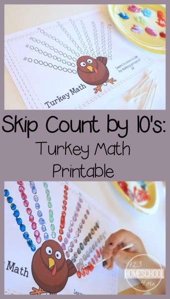 Turkey Counting by 10's kindergarten math printables using q-tips. This fun, unique kindergarten math helps kids practice counting to 100 with a fun turkey activity. Perfect for math centers, thanksgiving units, educational activities, homeschool count by 10s.