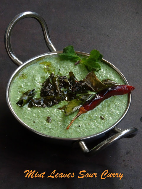 Mint leaves Sour Curry, Pudina Tambli