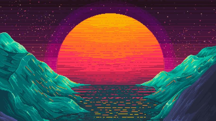 Sunset, Pixel, Art, Landscape, Scenery, Digital Art, 4K, #4.2066