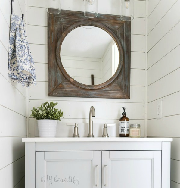 rustic mirror, brushed nickel, white shiplap