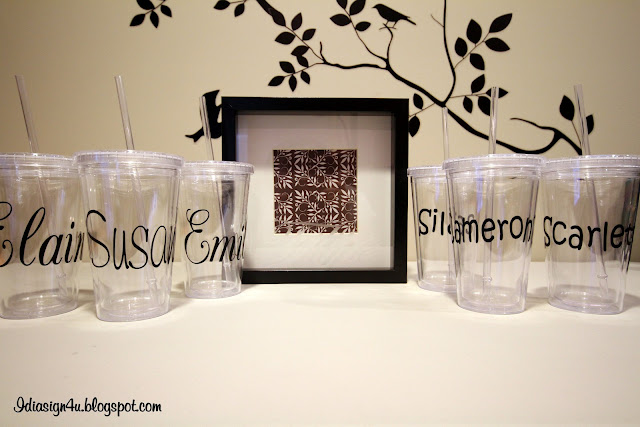 DIY Monogrammed Iced Tumblers and Picture Frame by ilovedoingallthingscrafty.com