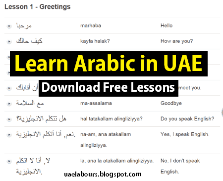 Learn Arabic in UAE, Basic Arabic, Arabic Language, basic arabic words for begginers