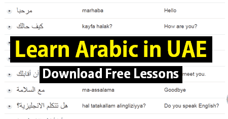 Learn Arabic in UAE with basic Arabic Words - UAE LABOURS