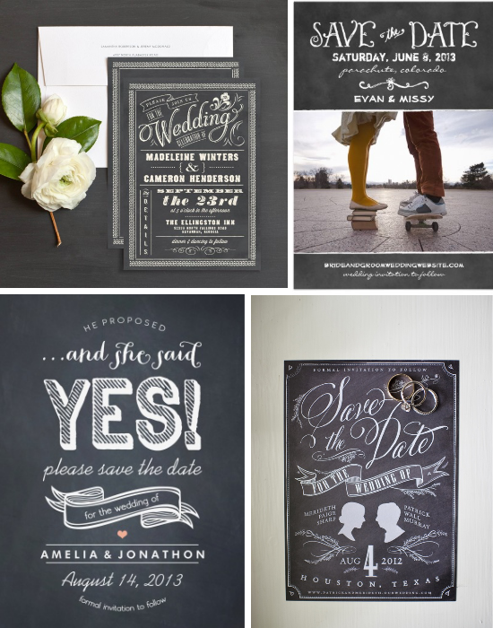 Wedding invitations, chalkboards