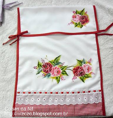 porta-forma de tecido oxford com pintura de rosas