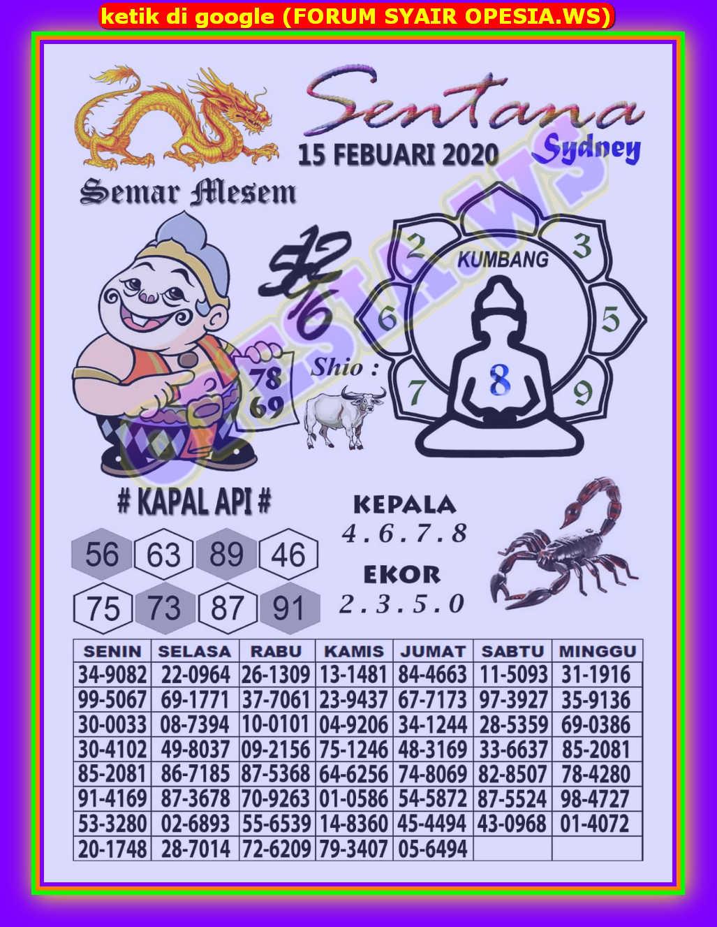 Kode syair Sydney Sabtu 15 Februari 2020 2