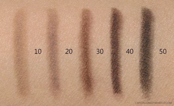 Make Up For Ever Brow Pencils 10 20 30 40 50 Swatches