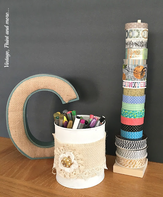 diy washi tape organizer and tin can pencil holder