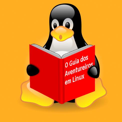 Tux segurando O Guia dos Aventureiros em Linux