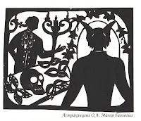 """силуэтная иллюстрация, Пратчетт, """"Ведьмы за границей"""", бал маскарад, кот Грибо, маски , дворецкий"""