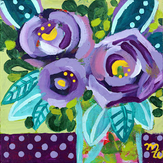Original joy-filled floral mini painting by Pennsylvania artist Merrill Weber 25 Days of Minis