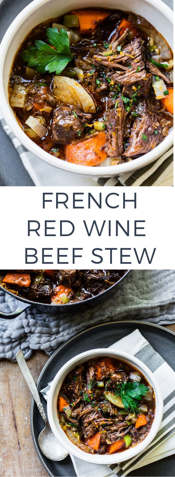 This Provencal-inspired stew is full of fork-tender braised beef, hearty red wine and aromatic herbs.  When life gives you a tiny bit more time to think about the day ahead — on weekends, for example — nothing seems more luxurious than getting dinner underway hours in advance.