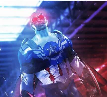 Falcão como Capitão América em nova arte
