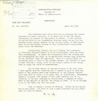 One-page memo from President Hopkins to Treasurer Edgerton