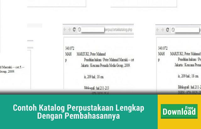 Contoh Katalog Perpustakaan