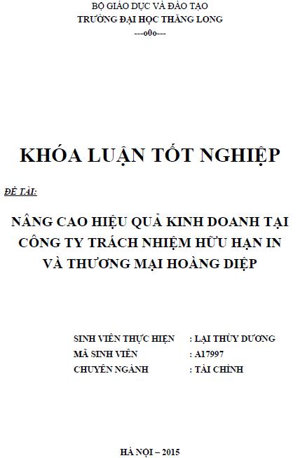 Nâng cao hiệu quả kinh doanh tại Công ty TNHH In và Thương mại Hoàng Diệp