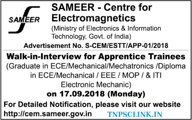 SAMEER Chennai - Graduate/Diploma Apprentices Vacancy 2018