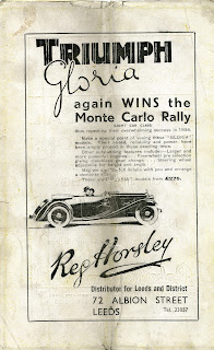Reg Horsley of Leeds Triumph Gloria advert 1935