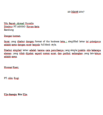 Contoh Surat Bisnis Gaya Amerika